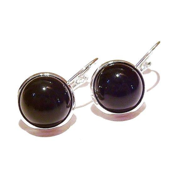 Black Onyx Lever Back Gemstone Earrings