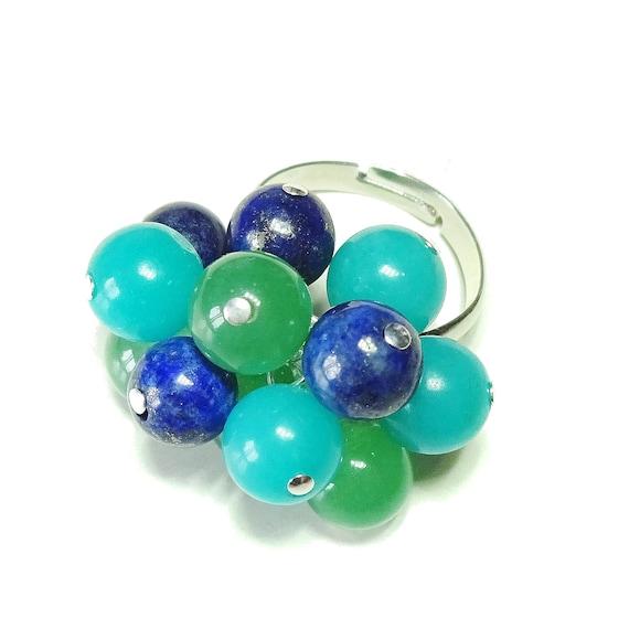Blue Lapis Lazuli, Aqua Jade & Green Aventurine Gemstone Cha Cha Ring - Adjustable
