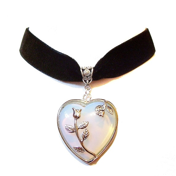Black Velvet Choker Necklace w White Opalite Heart