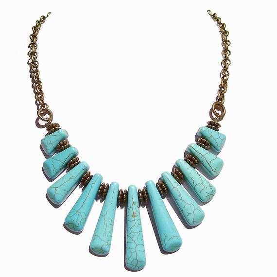 Blue Turquoise Gemstone & Antique Brass Fan Necklace