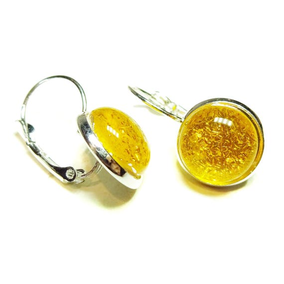 Yellow Dichroic Glass Lever Back Earrings