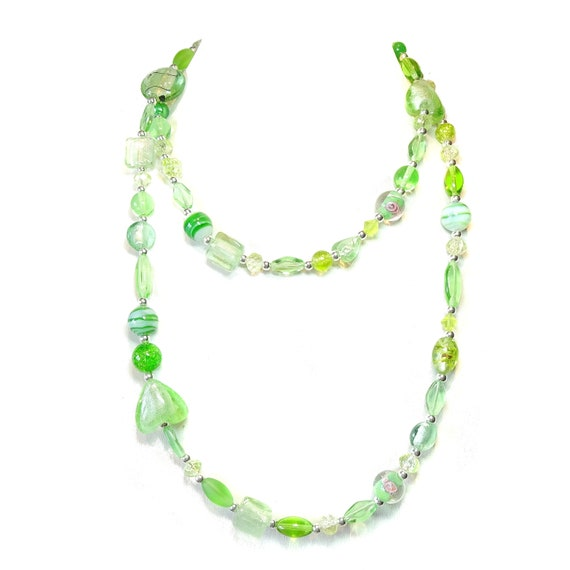 Boho Style Long Mixed Bead Necklace - Spring Green 40""