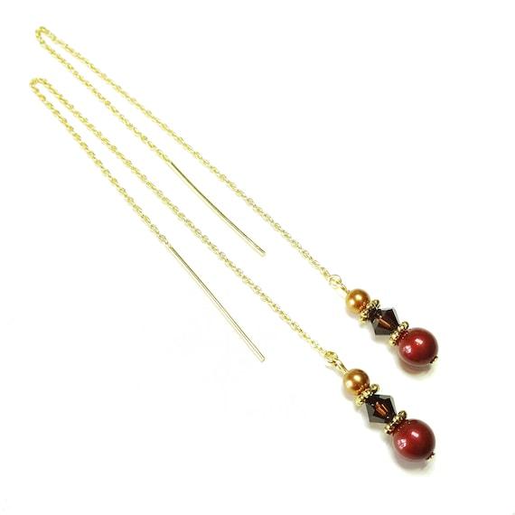 Dark Burgundy & Copper  Swarovski Pearl Gold Vermeil Long Drop Chain Ear Threads - 170mm