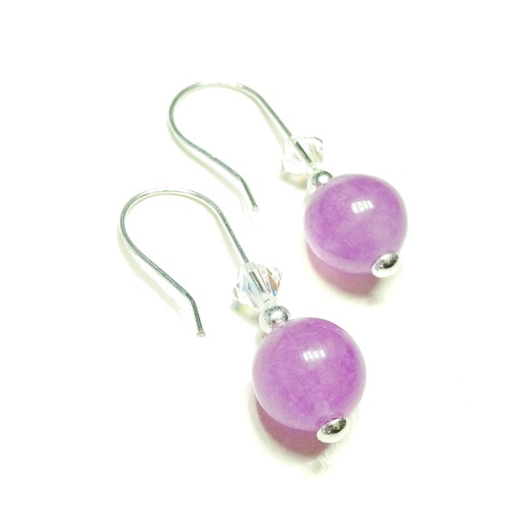 Gemstone, Swarovski Crystal & Sterling Silver Drop Earrings - Purple Quartz