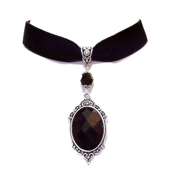 Tarja Black Velvet Gothic Choker Mirror Necklace w Swarovski Crystal