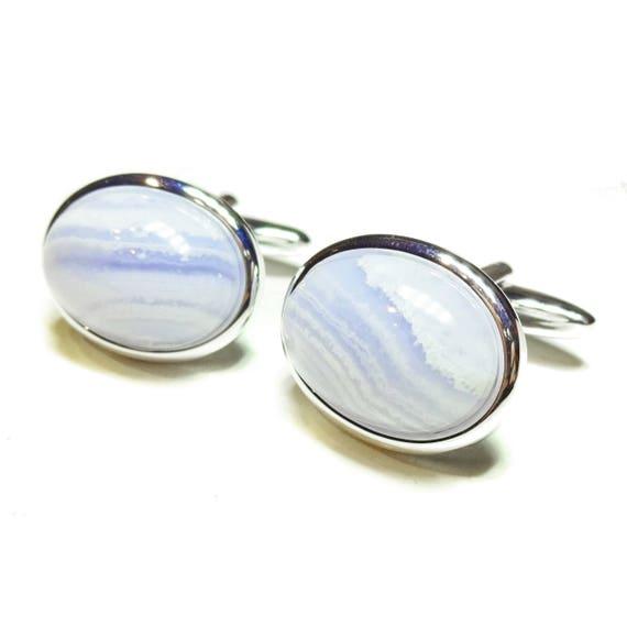Blue Lace Agate Semi-precious Gemstone Cabochon Cufflinks