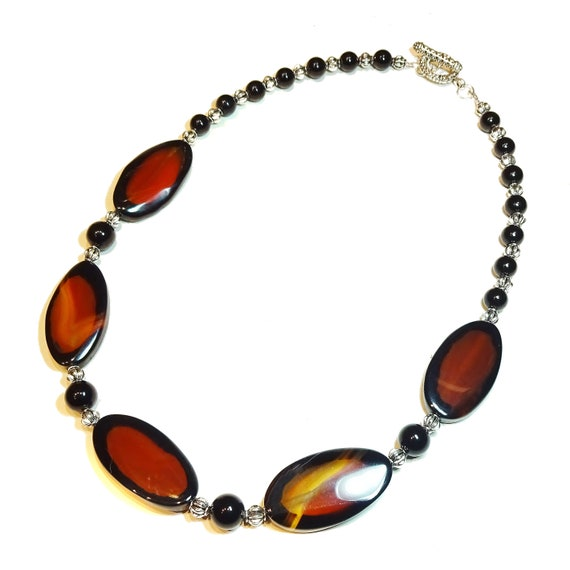 Red & Black Agate Semi-Precious Gemstone Necklace - 21 inches