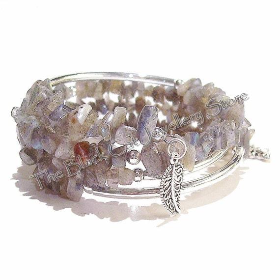 Grey Labradorite Gemstone Chip Memory Wire Wrap Cuff / Bangle