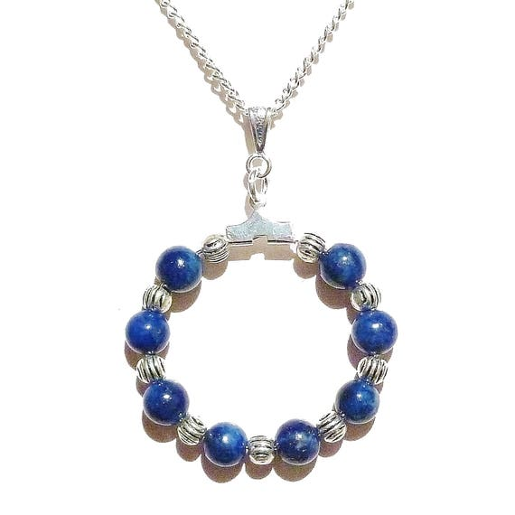 Blue Lapis Lazuli Gemstone Handcrafted Hoop Pendant - 30mm