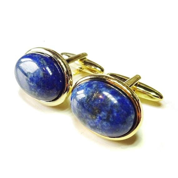 Blue Lapis Lazuli Semi-precious Gemstone Cabochon Cufflinks - Silver or Gold Plated