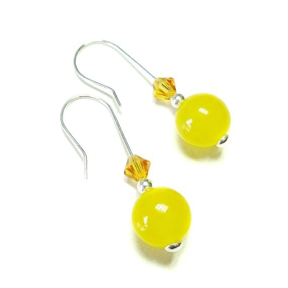 Gemstone, Swarovski Crystal & Sterling Silver Drop Earrings - Yellow Quartz