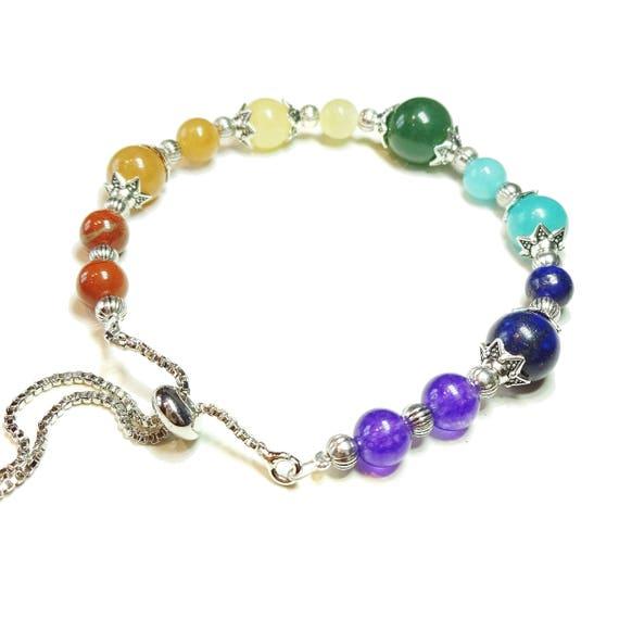Chakra / Rainbow Gemstone Slider Chain Bracelet