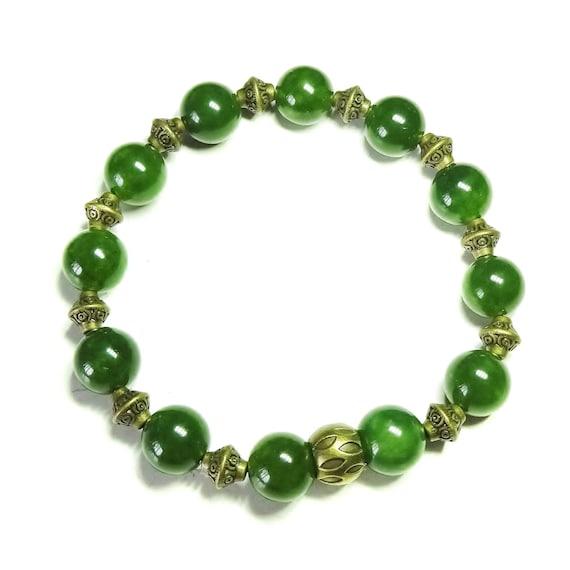Taiwan Jade Gemstone & Antique Brass Stretch Bracelet - 20.5cm