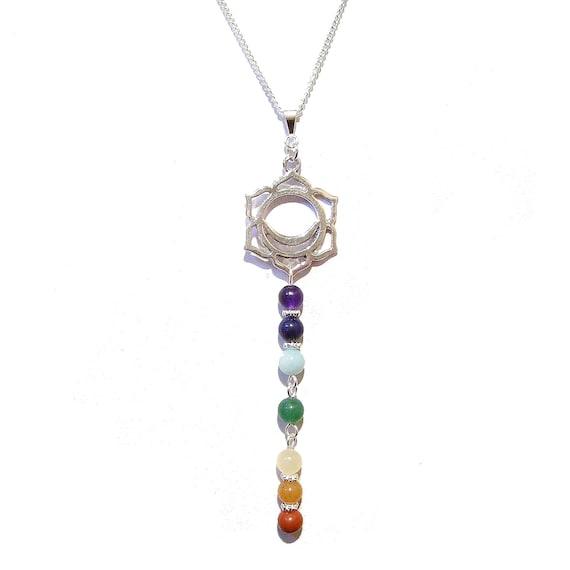 Long Semi-precious Gemstone Chakra Pendant w Svadhisthana Charm 10.5cm