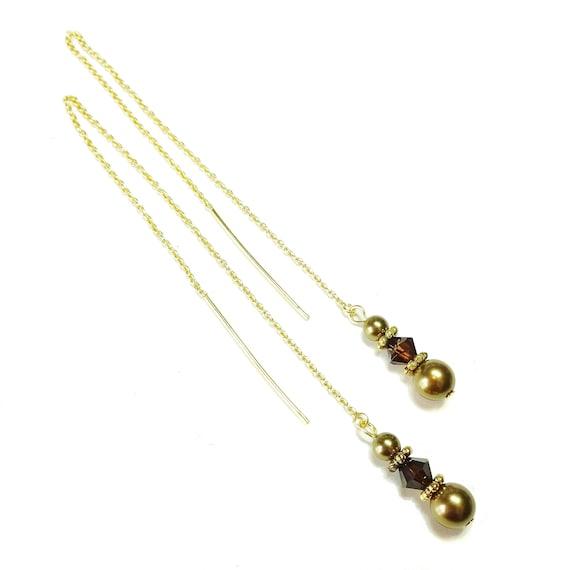Antique Bronze & Mocca Swarovski Pearl Gold Vermeil Long Drop Chain Ear Threads - 170mm
