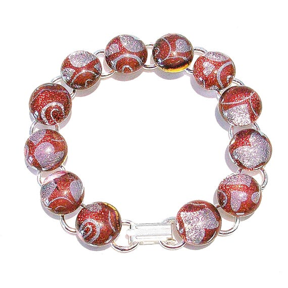 Soft Red Patterned Handcut Dichroic Glass Bracelet OOAK 19.5cm