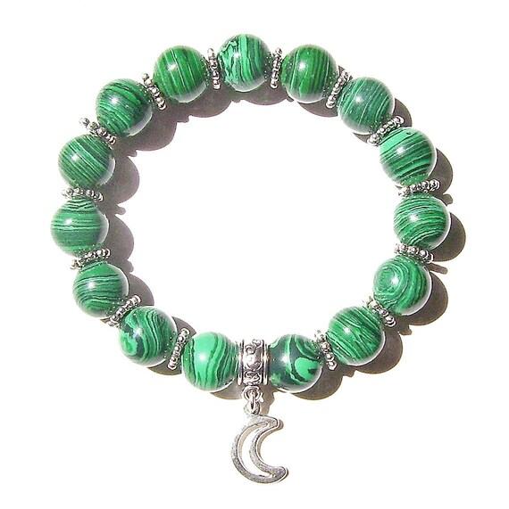 Green Malachite & Tibetan Silver-Tone Handcrafted Stretch Bracelet Approx. 20.5cm