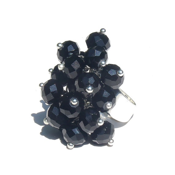 Black Crystal Cha Cha Cluster Ring - Adjustable