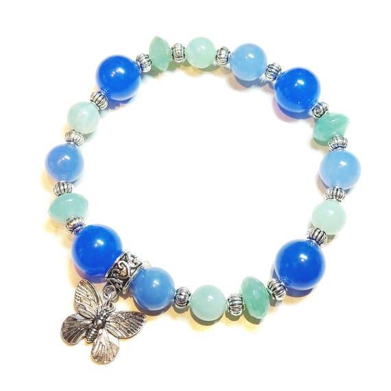 Gemstone Power Bracelet - Quartz, Amazonite, Jade - Tranquility, Healing & Soothing Ap. 21cm
