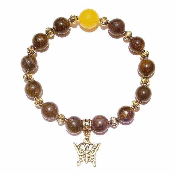Bronzite, Yellow Jade Gemstone & Antique Gold-Tone Stretch Bracelet 20.5cm