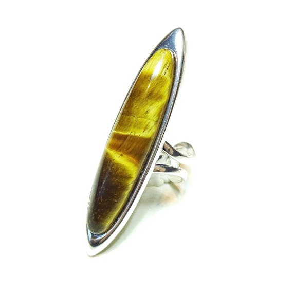 Long Brown Tiger's Eye Gemstone, Adjustable, Oval Ring