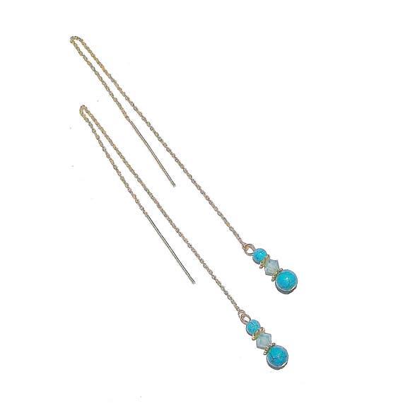 Turquoise Gemstone & Swarovski Crystal Gold Vermeil Long Drop Chain Ear Threads - 174mm
