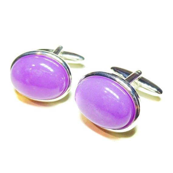 Purple Electric Spar Semi-precious Gemstone Cufflinks