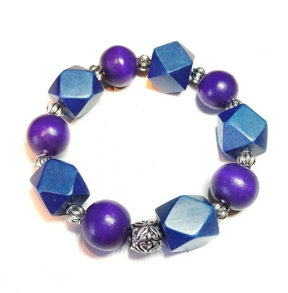 Purple & Navy Blue Geometric Wood Bead Chunky Stretch Bracelet 21.5cm