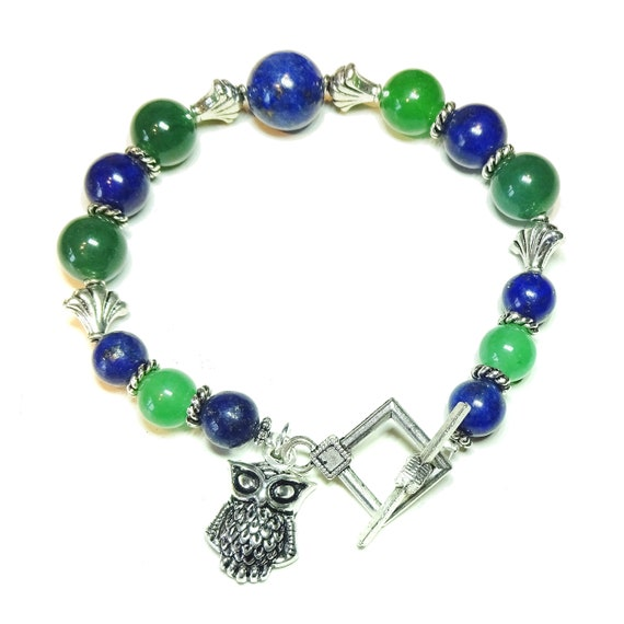Lapis Lazuli & Green Aventurine Gemstone Bracelet. 20cm