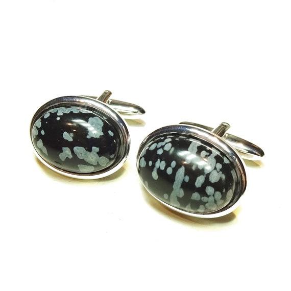 Grey Snowflake Obsidian Semi-precious Gemstone Cufflinks - Angled