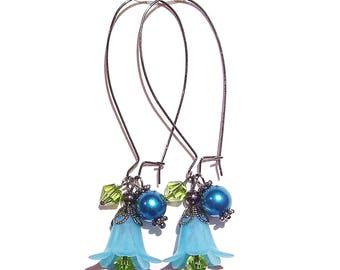 Lucite Lily Flower Cluster Earrings - Teal, Green & Gunmetal