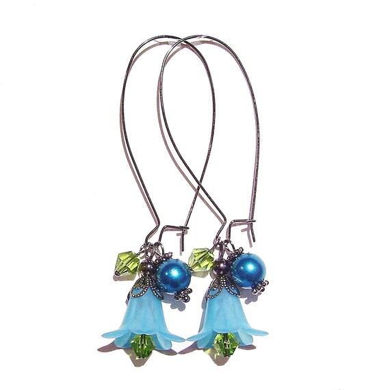 Teal Blue, Green & Gunmetal Lucite Lily Flower Cluster Earrings