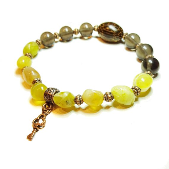 Boho Surfer Stretch Bracelet with Gemstone Yellow Opal & Smokey Quartz - Ap. 21.5cm