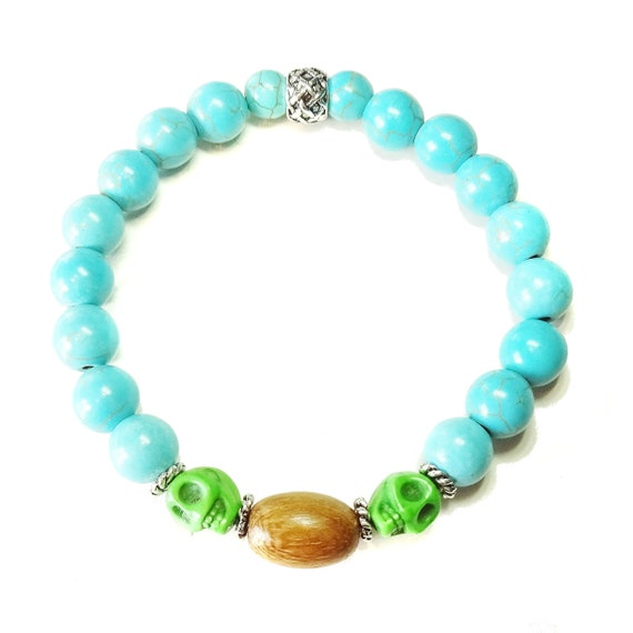 Men's Gemstone Turquoise Stretch Bracelet w/ Skull Beads & Wood - Ap. 21cm