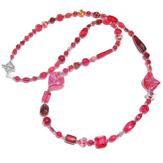 Boho Style Long Mixed Bead Necklace - Red Approx. 41""