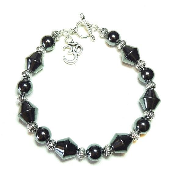 Grey Haematite Gemstone Handcrafted Bracelet 20cm