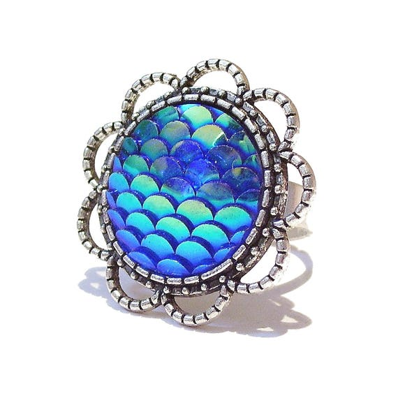 Large Blue Mermaid / Dragon Scale Filigree Ring - Adjustable