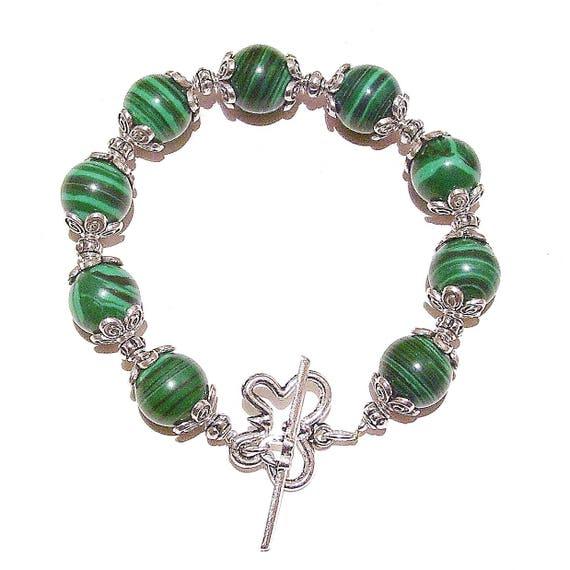 Green Malachite Handcrafted Beaded Bracelet 21cm
