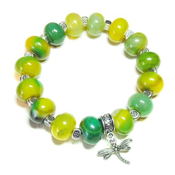 Green/Yellow Agate Gemstone Handcrafted Stretch Bracelet Approx. 20.5cm