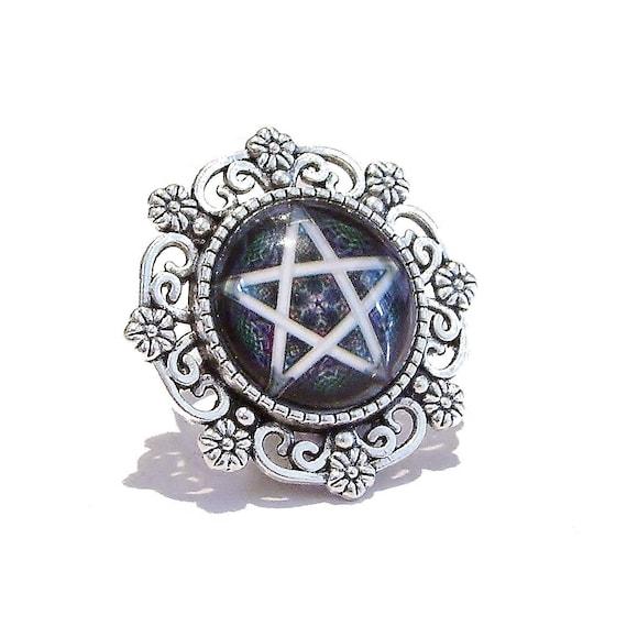 Floral Gothic Pentagram Cameo Ring - Adjustable
