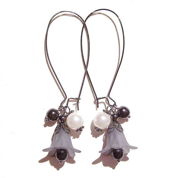 Grey, White & Gunmetal Lucite Lily Flower Cluster Earrings