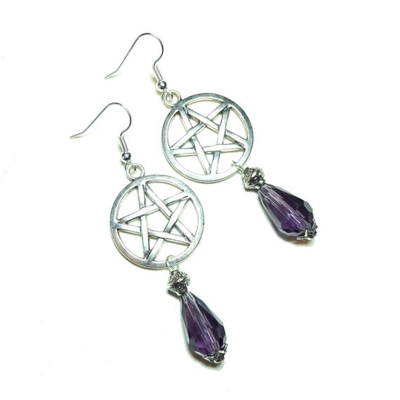 Gothic Pentagram Earrings with Purple Crystal