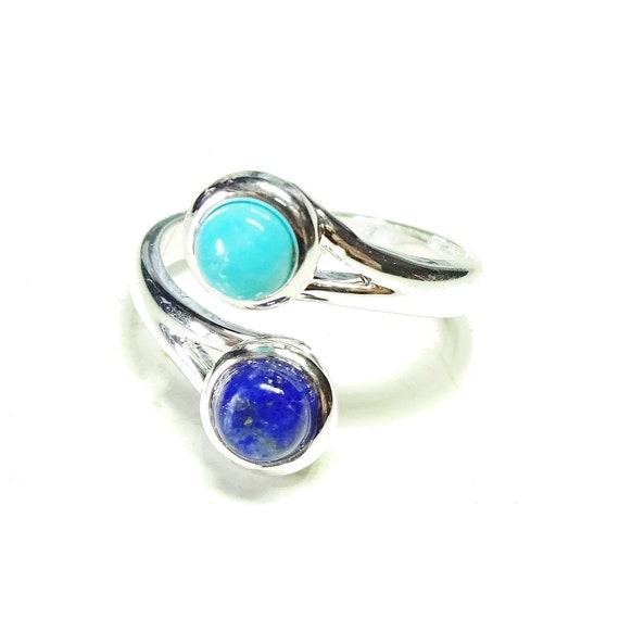 Blue Lapis Lazuli & Turquoise Semi-precious Gemstone Adjustable Ring