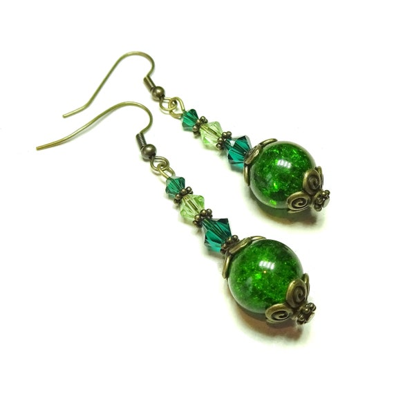 Green Vintage Style Antique Brass Cracked Glass Earrings w. Swarovski Crystals
