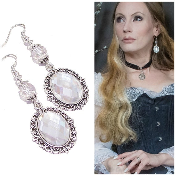 Julia Faceted Crystal Gothic Earrings w Swarovski Crystal - Clear