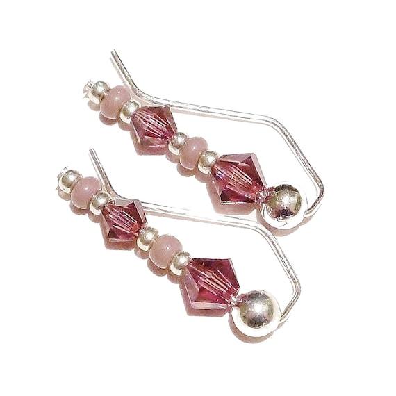 "Purple Lilac Beaded Earrings / Ear Pins / Ear Vines w/ Swarovski Crystals 7/8"""