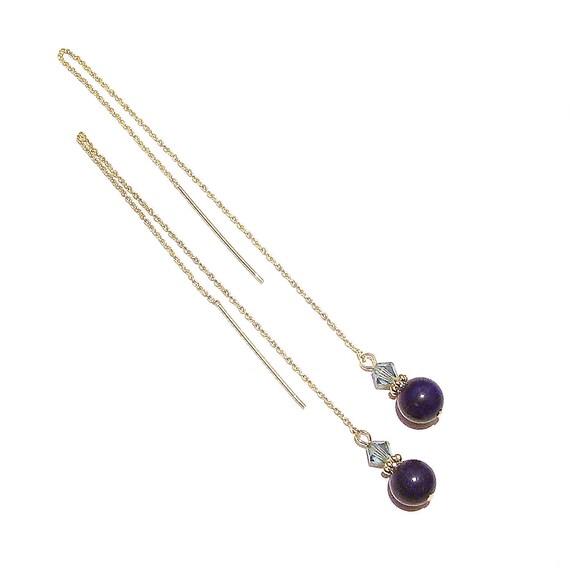 Blue Lapis Lazuli Gemstone & Swarovski Crystal Gold Vermeil Long Drop Chain Ear Threads - 172mm