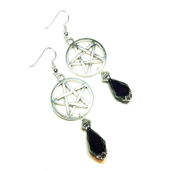 Gothic Pentagram Earrings with Black Crystal