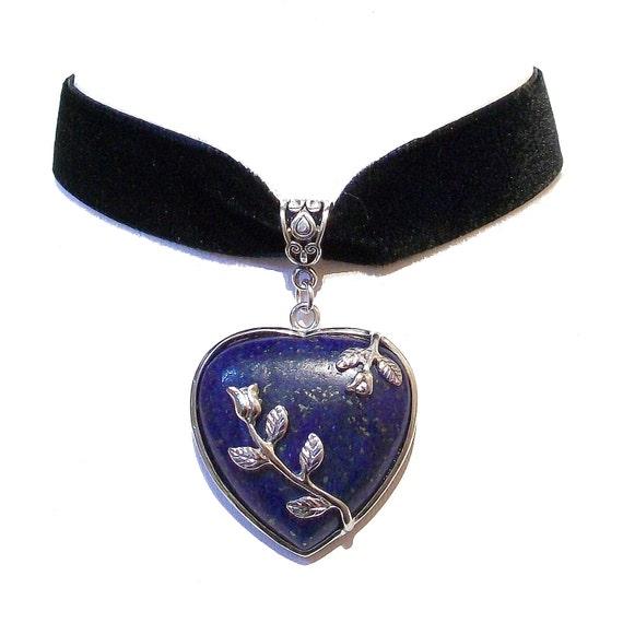 Black Velvet Choker Necklace w Blue Lapis Lazuli Heart