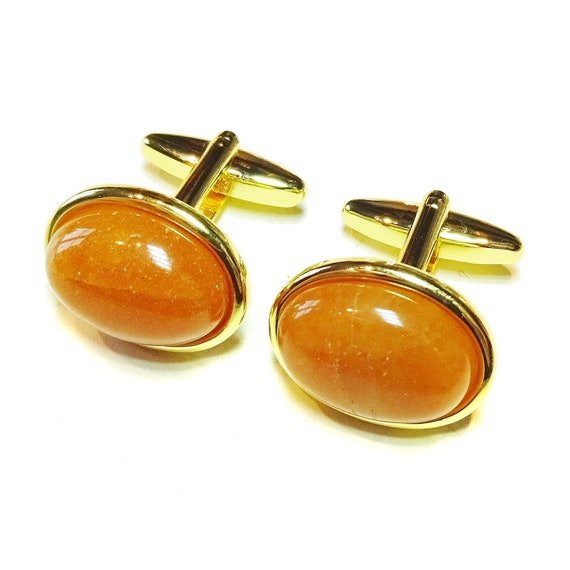 Orange Aventurine Semi-precious Gemstone Gold Plated Cufflinks - Angled